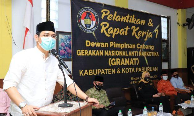 Pelantikan Dpc Granat (Gerakan Nasional Anti Narkoba),  Plt. Walikota Pasuruan Berharap Kaum Milenial Peduli Pada Pemberantasan Narkoba