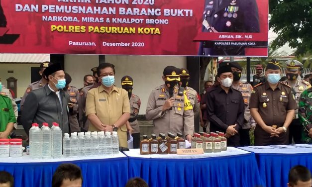 Pemerintah Kota Pasuruan Hadiri Pemusnahan Barang Bukti  di Polres Pasuruan Kota