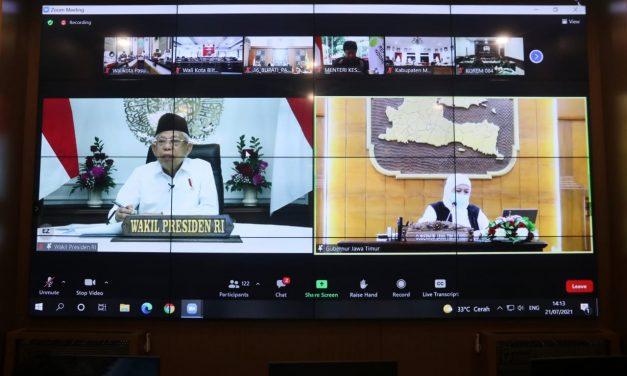 Antisipasi Lonjakan Pasien Covid-19, Wakil Presiden Gelar Rakor Terkait Penanganan Covid-19 di Jawa Timur