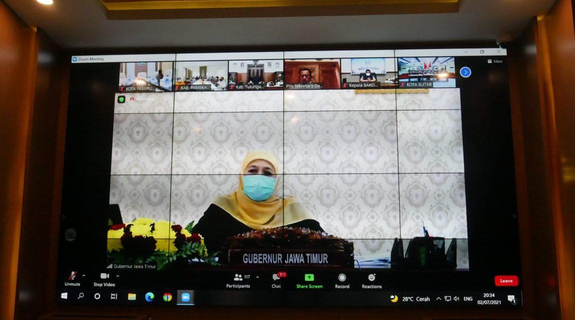 Wali Kota Pasuruan Bersama Wakil Wali Kota Pasuruan Ikuti Rakor PPKM Darurat Bersama Gubenur Jawa Timur